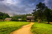 The John Oliver Cabin On A Foggy Morning At Cade's Cove, Great Smoky Mountains National Park, Tennes