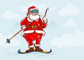 Santa claus on skis. Eps10 vector illustration.
