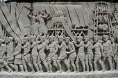 Bangkok, Thailand - 11 July 2014 : Intricate Thai Carving Mural - Ancient Tradition For King