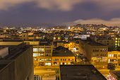 SAN FRANCISCO, CALIFORNIA - July 5, 2014:  San Francisco's urban South of Market neighborhood at nig