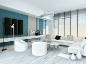 Cool blue and white modern living room inyerior with white painted wooden floorboards, a modern whit