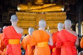 Bangkok, Thailand -11 Jul 2014 Thai Monks Stand In The Hall For The Buddhism Activity Daily At Wat S