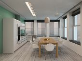 Open plan modern kitchen and dining room interior with built in appliances along one wall and a cont