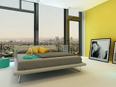 Spacious colorful bedroom interior with yellow wall accents, turquoise chair and cabinets and a doub