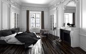 Classic black and white bedroom interior decor with a double bed with unmade duvet, long windows wit