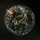 Aerial 360 degree view of Tokyo, Japan at night with illuminated buildings , landmarks and skyscrype