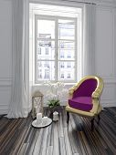 Colorful purple upholstered armchair in a chic interior standing on parquet flooring in front of a l
