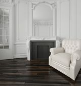 Classic white living room interior with a large overmantel mirror over a fireplace, wood wall paneli