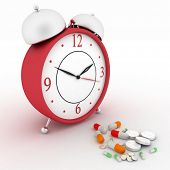Medicine pills and red retro alarm clock. Conception of reception of pills on hours. 3d render illus