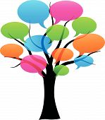 Vector Speech Bubbles On Tree