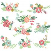 Vintage Hand Drawn Floral Set