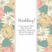 Wedding card with floral elements