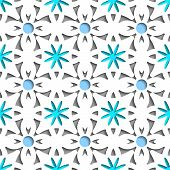 Simple White Repainting Flowers With Blue Seamless
