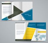 Three Fold Business Brochure Template, Corporate Flyer Or Cover Design In Blue And Yellow Colors