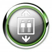 picture of elevator icon  - Icon Button Pictogram with Elevator Lift symbol - JPG