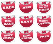 Sale stickers, price tags, labels