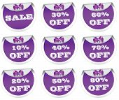 Sale stickers, price tags, labels, purple
