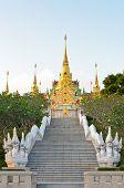 Stairs To Golden Pagoda Phra Mahathat Chedi Phakdi Prakat.