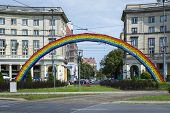 An Artistic Construction Of Rainbow On Savior Square In Warsaw