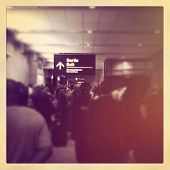 Airport - crowd of people at airport with instagram effect