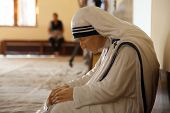 KOLKATA, INDIA - FEBRUARY 08: The statue of Mother Teresa in the chapel of the Mother House, Kolkata