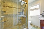 Modern Bathroom With Glass Door Shower
