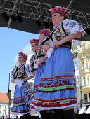 ZAGREB, CROATIA - JULY 16: Members of folk group Edmonton (Alberta), Ukrainian dancers Viter from Canada during the 48th International Folklore Festival in center of Zagreb,Croatia on July 16, 2014