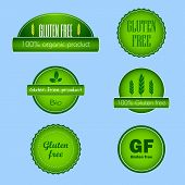 Set of gluten free food labels