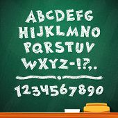 Cartoon Chalk Vector Font On Green School Board