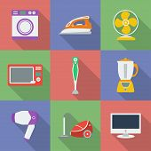 Colorful Icon Set Of Household Appliance.