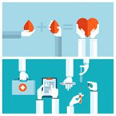 Set od flat design vector illustration concepts for blood transfusion and medical care