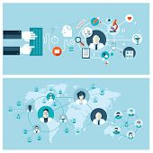 Set of flat design vector illustration concepts for online medical services and support