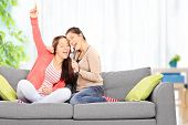 Two sisters having fun singing on microphone seated on a sofa at home