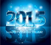 Blue 2015 Happy New Year sparkles background card