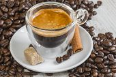Espresso Coffee In Transparent Glass With Golden Crema
