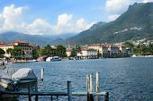 LUGANO, SWITZERLAND - JULY 5, 2014: Lugano city and shoreline.The affluent city in southern Switzerl