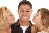 Two Women Ready To Kiss Man Close Big Smile