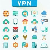 stock photo of vpn  - set of 16 virtual private network icons - JPG
