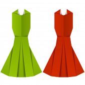 vector origami paper ladies evening garments
