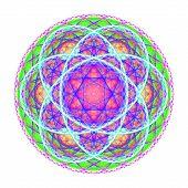 Green Blue Purple Mandala On White Background