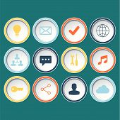 Icons set for web design, websites on green background.