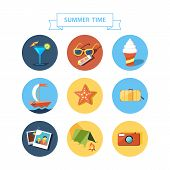 Summertime icons set. Flat design.