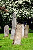 Gravestones in churchyard.