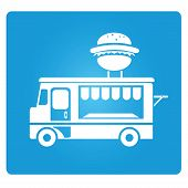 foto of food truck  - food truck sign in blue button - JPG