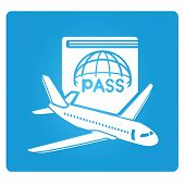 stock photo of aeroplane symbol  - plane and airport symbol in blue square button - JPG