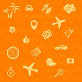 Vector travel background orange. Seamless pattern