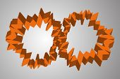Abstract orange cogwheel like circles