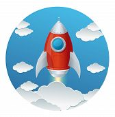 Cartoon retro iron rocket and clouds isolated