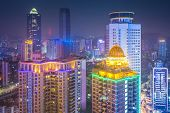 Guiyang, China downtown cityscape at night.