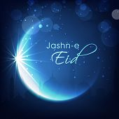 Shiny crescent moon on blue background for muslim community festival Jashn-e-Eid celebrations.